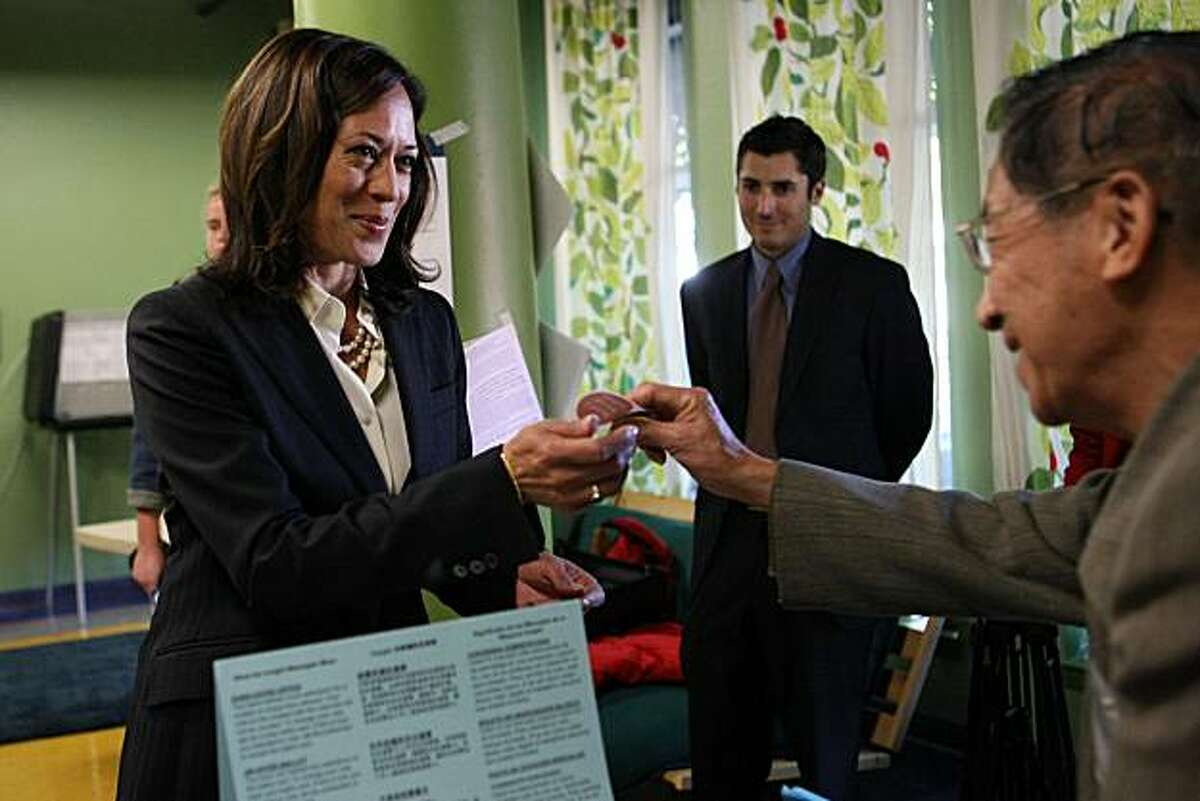 San Francisco District Attorney and California Attorney General candidate, Kamala Harris, receives her