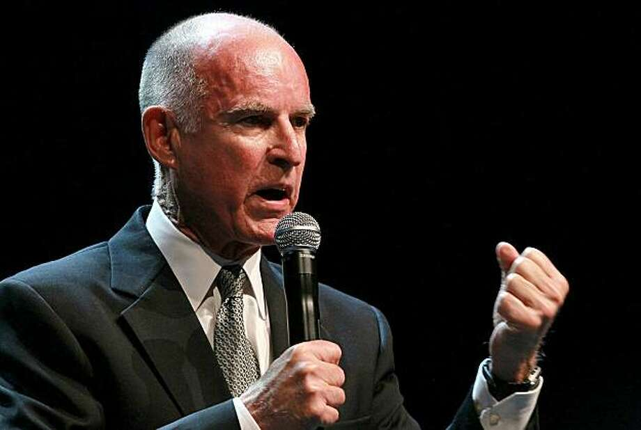 OAKLAND, CA - NOVEMBER 02:  California Governor-elect Jerry Brown speaks to supporters as he celebrates his win during an election night party at Fox Theatre on November 2, 2010 in Oakland, California. Jerry Brown defeated republican challenger and formereBay CEO Meg Whitman. Photo: Justin Sullivan, Getty Images