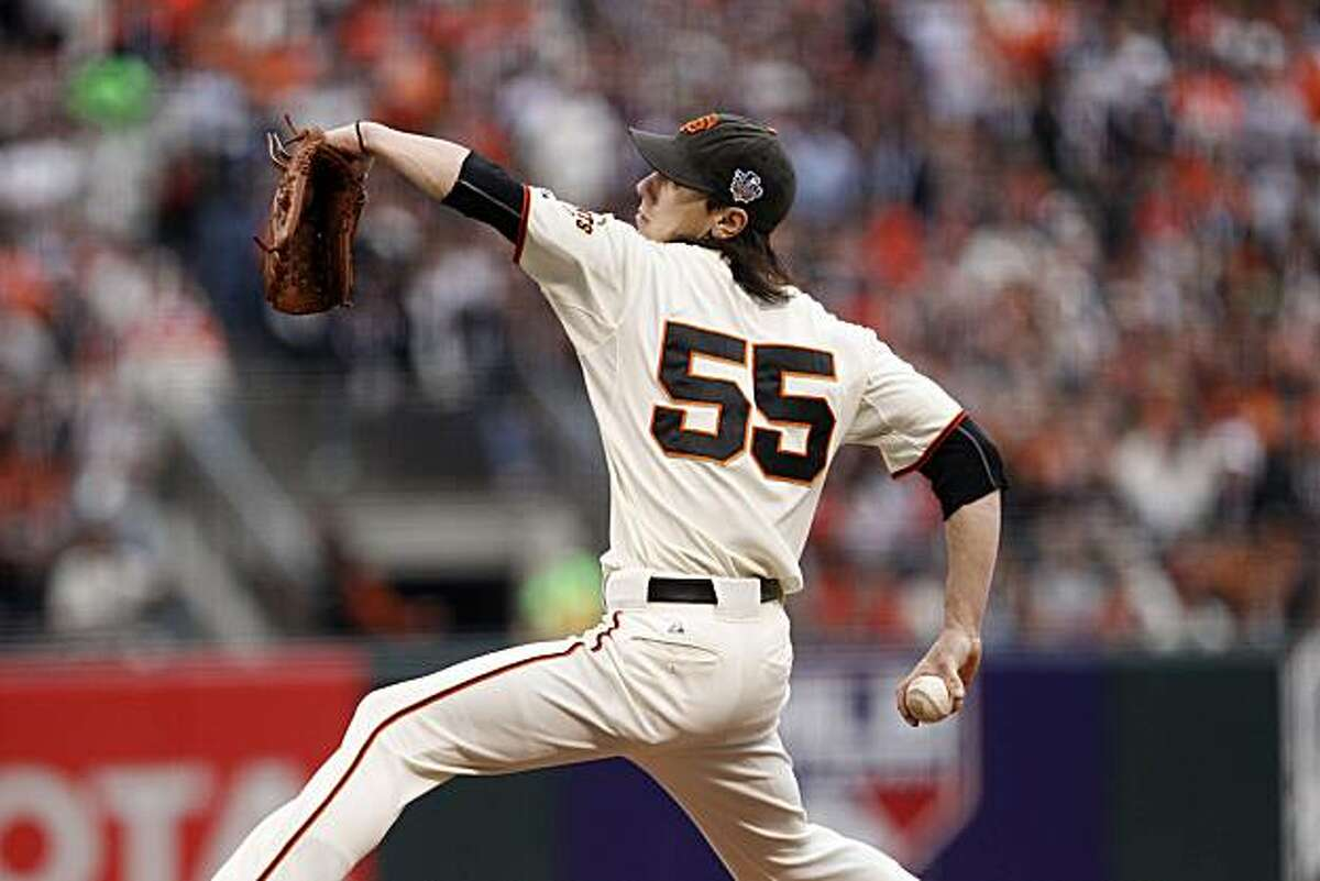 Tim Lincecum pitches in the first inning as the San Francisco Giants take on the Texas Rangers in Game 1 of the World Series at AT&T Park in San Francisco, Calif., on Wednesday, October 27, 2010.