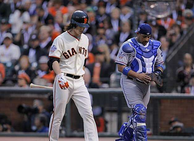 Giants Tim Lincecum walks back to the dugout after an attempted bunt flew out to catcher Bengie Molina in the third as the San Francisco Giants take on the Texas Rangers in Game 1 of the World Series at AT&T Park in San Francisco, Calif., on Wednesday, October 27, 2010. Photo: Michael Macor, San Francisco Chronicle