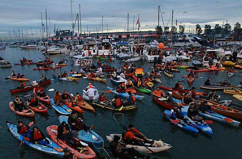 Game one of the World Series between the San Francisco Giants and the Texas Rangers at AT&T park.  Boating Giants fans fill McCovey Cove during the middle of the game in San Francisco, Calif., on Wednesday, October 27, 2010. Photo: Liz Hafalia, The Chronicle