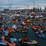 Game one of the World Series between the San Francisco Giants and the Texas Rangers at AT&T park.  Boating Giants fans fill McCovey Cove during the middle of the game in San Francisco, Calif., on Wednesday, October 27, 2010.