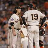 Giants Tim Lincecum talks with pitching coach Dave Righetti on the mound before being taken out in the sxth as the San Francisco Giants take on the Texas Rangers in Game 1 of the World Series at AT&T Park in San Francisco, Calif., on Wednesday, October 27, 2010.