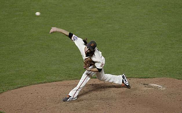 Giants Tim Lincecum pitches in the sixth inning as the San Francisco Giants take on the Texas Rangers in Game 1 of the World Series at AT&T Park in San Francisco, Calif., on Wednesday, October 27, 2010. Photo: Lacy Atkins, San Francisco Chronicle