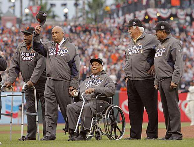 Left to right, Willie McCovey, Orlando Cepeda, Monte Irvin, Gaylord Perry, Juan Marichal during pregame ceremonies.  The San Francisco Giants take on the Texas Rangers in Game 1 of the World Series at AT&T Park in San Francisco, Calif., on Wednesday, October 27, 2010. Photo: Carlos Avila Gonzalez, San Francisco Chronicle