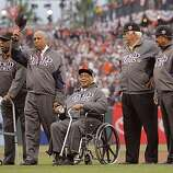 Left to right, Willie McCovey, Orlando Cepeda, Monte Irvin, Gaylord Perry, Juan Marichal during pregame ceremonies.  The San Francisco Giants take on the Texas Rangers in Game 1 of the World Series at AT&T Park in San Francisco, Calif., on Wednesday, October 27, 2010.