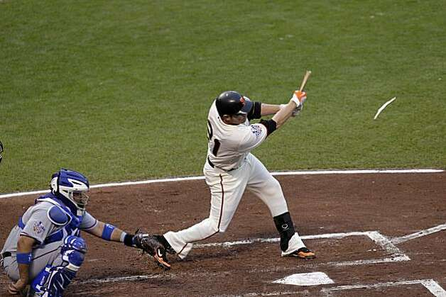 Giants Freddy Sanchez shatters the bat hitting a double in the first inning as the San Francisco Giants take on the Texas Rangers in Game 1 of the World Series at AT&T Park in San Francisco, Calif., on Wednesday, October 27, 2010. Photo: Lacy Atkins, San Francisco Chronicle