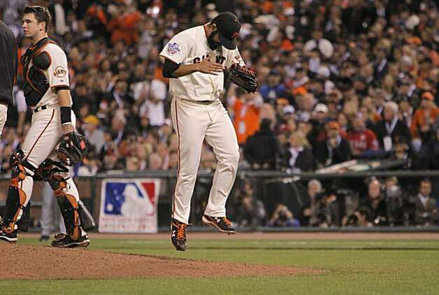 Giants relief pitcher Sergio Romo jumps off the mound as he comes out of the game in the eighthn inning, as the San Francisco Giants went on to beat the Texas Rangers 11-7 in game 1 of the Major League Baseball World Series on Wednesday Oct. 27, 2010 in San Francisco, Calif. Photo: Michael Macor, San Francisco Chronicle