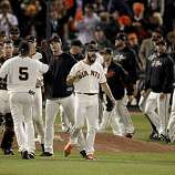 Brian Wilson led the team after finishing out the 9th inning. The San Francisco Giants defeated the Texas Rangers 11-7 in the first game of the 2010 World Series.