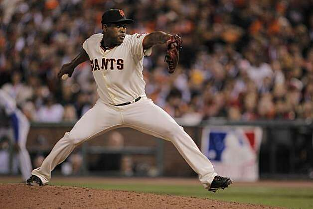 Giants Santiago Casilla pitching in the sixth inning as the San Francisco Giants take on the Texas Rangers in Game 1 of the World Series at AT&T Park in San Francisco, Calif., on Wednesday, October 27, 2010. Photo: Michael Macor, San Francisco Chronicle
