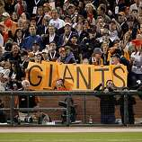 Fans make it clear who they are rooting for in the 7th inning. The San Francisco Giants defeated the Texas Rangers 11-7 in the first game of the 2010 World Series.