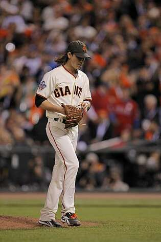 Giants Tim Lincecum walks to the dugout after being taken out of the game in the sixth as the San Francisco Giants take on the Texas Rangers in Game 1 of the World Series at AT&T Park in San Francisco, Calif., on Wednesday, October 27, 2010. Photo: Michael Macor, San Francisco Chronicle