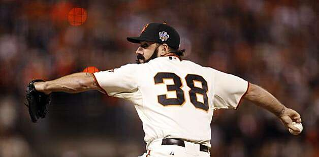 Giants' closer, Brtian Wilson pitches in the ninth inning. The San Francisco Giants played the Texas Rangers at AT&T Park in San Francisco, Calif., in Game 1 of the World Series on Wednesday, October 27, 2010. The Giants defeated the Rangers 11-7 Photo: Carlos Avila Gonzalez, The Chronicle