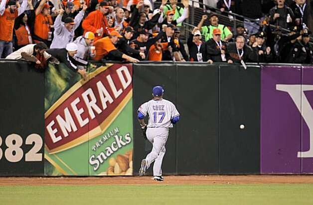 Rangers Nelson Cruz chases Freddy Sanchez's double in the fifth as the San Francisco Giants take on the Texas Rangers in Game 1 of the World Series at AT&T Park in San Francisco, Calif., on Wednesday, October 27, 2010. Photo: Michael Macor, San Francisco Chronicle