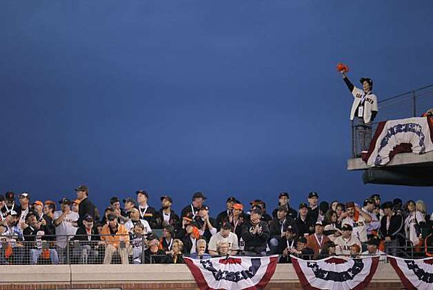 A fan waves a pom-pom during the game.  The San Francisco Giants take on the Texas Rangers in Game 1 of the World Series at AT&T Park in San Francisco, Calif., on Wednesday, October 27, 2010. Photo: Michael Macor, San Francisco Chronicle