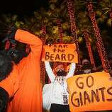 Game one of the World Series between the San Francisco Giants and the Texas Rangers at AT&T park. Giant's fans celebrate at King and Third streets after an 11 to 7 win over the Texas Rangers in San Francisco, Calif., on Wednesday, October 27, 2010.