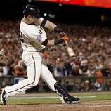 Aaron Rowand hit a double in the 8th inning. The San Francisco Giants defeated the Texas Rangers 9-0 in game 2 of the 2010 World Series.