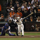Giants Buster Posey loses his bat on a swing in the sixth inning.  He struck out on that swing as the San Francisco Giants take on the Texas Rangers in Game 2 of the World Series at AT&T Park in San Francisco, Calif., on Thursday, October 28, 2010.
