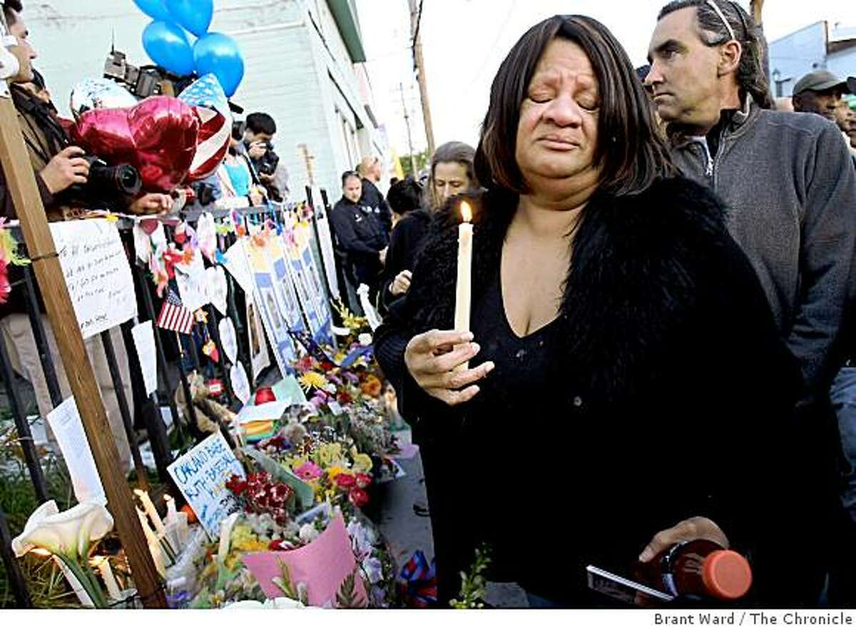 Leota Irvin at a vigil for the Oakland Police officers who were killed near MacArthur and 74th Avenue in Oakland.