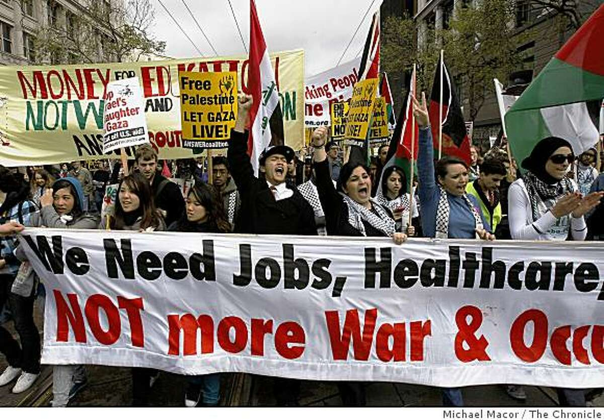 Marching up Market Street, protesters join hundreds of others in San Francisco, Calif. on Saturday March 21, 2009 for the International Day of Action on the 6th Anniversary of the Invasion of Iraq.