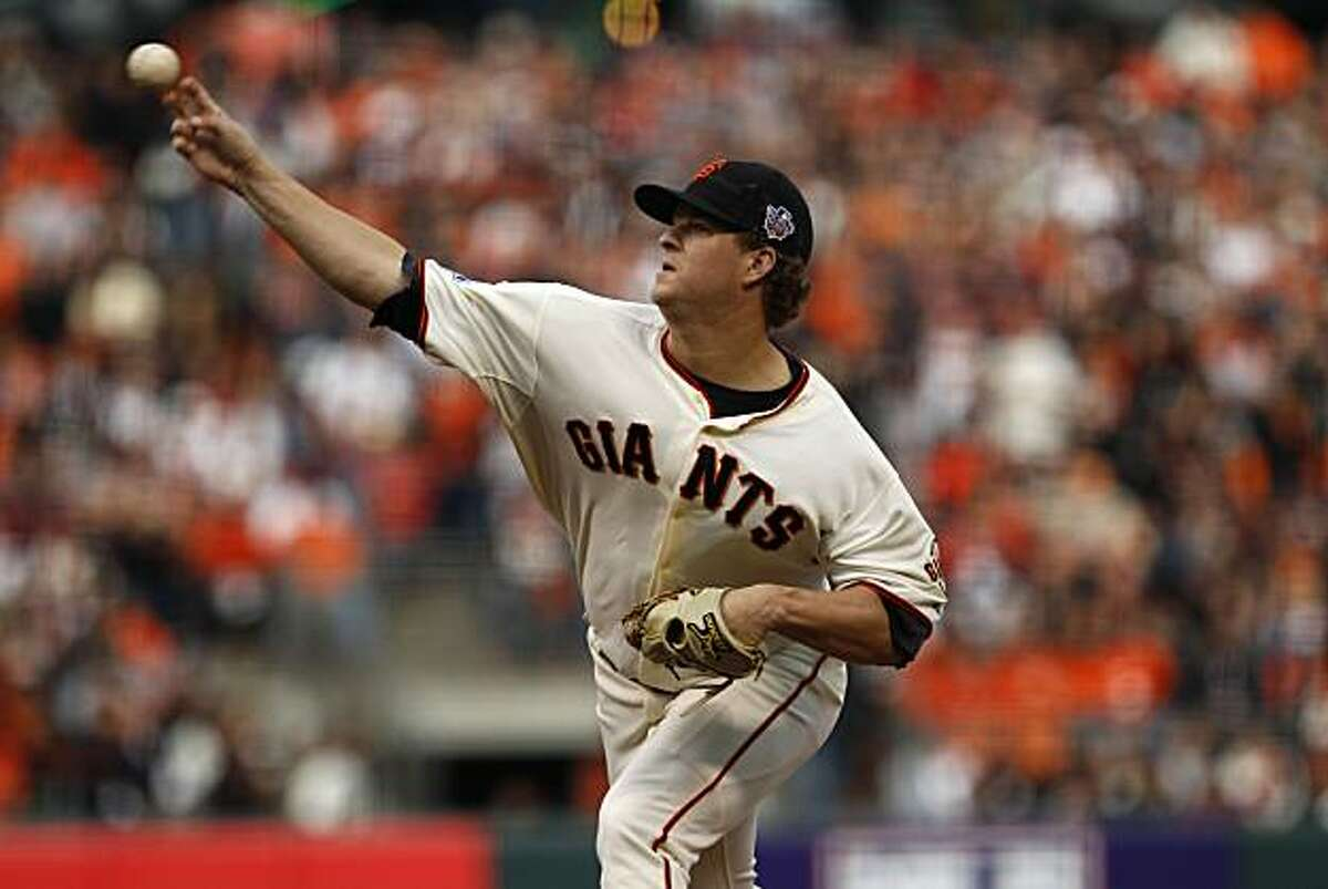 Giants pitcher Matt Cain throws during the first inning as the San Francisco Giants take on the Texas Rangers in Game 2 of the World Series at AT&T Park in San Francisco, Calif., on Thursday, October 28, 2010.