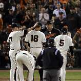 Giants' starting pitcher, Matt Cain, is relieved by manager, Bruce Bochy, in the top of the eighth inning. The San Francisco Giants played the Texas Rangers at AT&T Park in San Francisco, Calif., in Game 2 of the World Series on Thursday, October 28, 2010. The Giants defeated the Rangers 9-0, largely on a 7 run eighth inning.