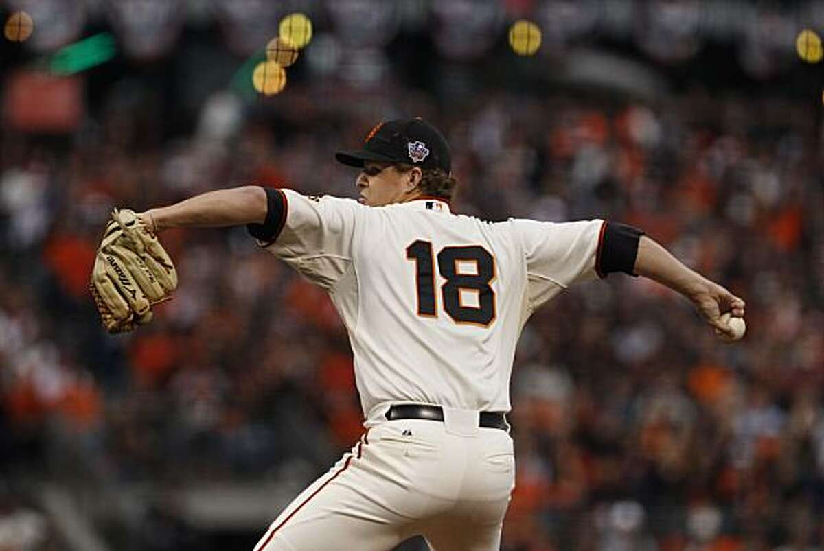Giants Matt Cain pitches in the third inning as the San Francisco Giants take on the Texas Rangers in Game 2 of the World Series at AT&T Park in San Francisco, Calif., on Thursday, October 28, 2010.