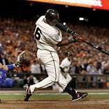 Edgar Renteria hit a two run single in the 8th inning. The San Francisco Giants defeated the Texas Rangers 9-0 in game 2 of the 2010 World Series.