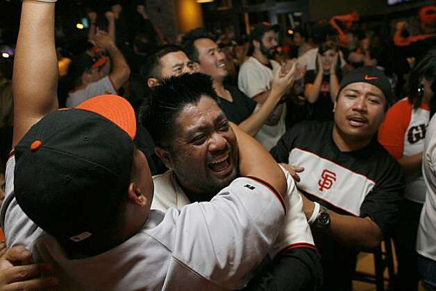 Reggie Palacioz celebrates at Public House at AT&T Park after watching the San Francisco Giants win the 2010 World Series in Texas on Monday, Nov, 1, 2010. Photo: Kirsten Aguilar, The Chronicle