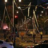 Electric lines hanging over Townsend and 4th Streets in San Francisco, Calif. are toilet papered as fans celebrate the San Francisco Giants win at the 2010 World Series in Texas on Monday, Nov, 1, 2010.