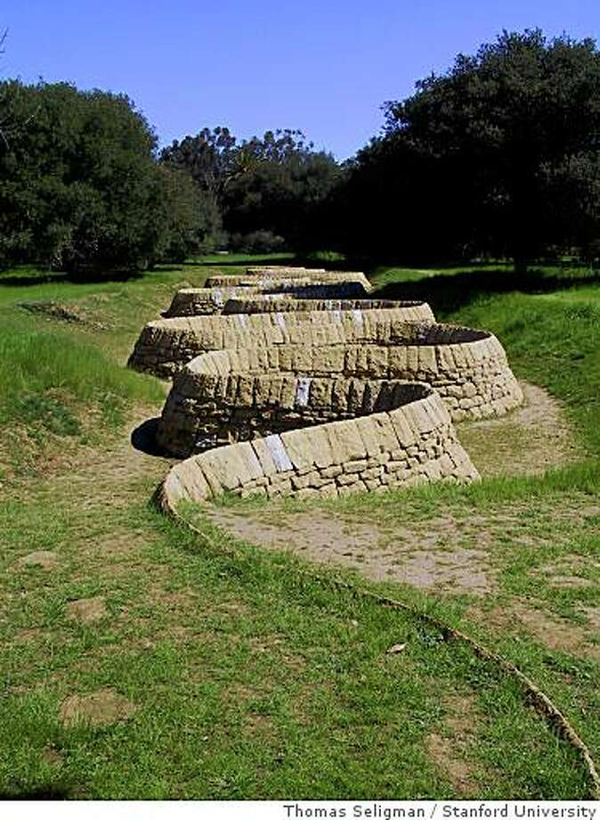 """Andy Goldsworthy's """"Stone River'' snakes across the Stanford University campus. Photo: Thomas Seligman, Stanford University"""