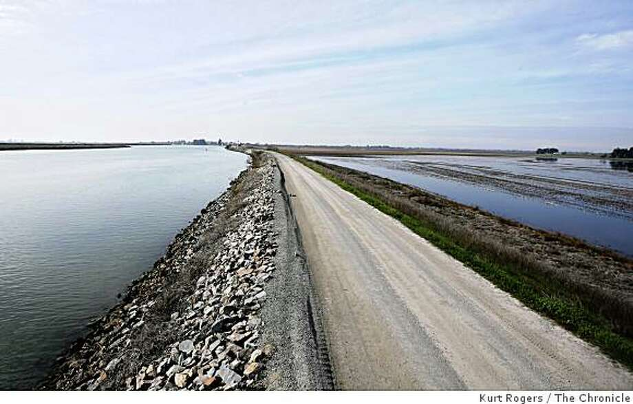The North Mokelumne River (left) flows just across the road from Tyler Island, which lies more than 20 feet below sea level  --  a giant hole surrounded by levees. Photo: Kurt Rogers, The Chronicle