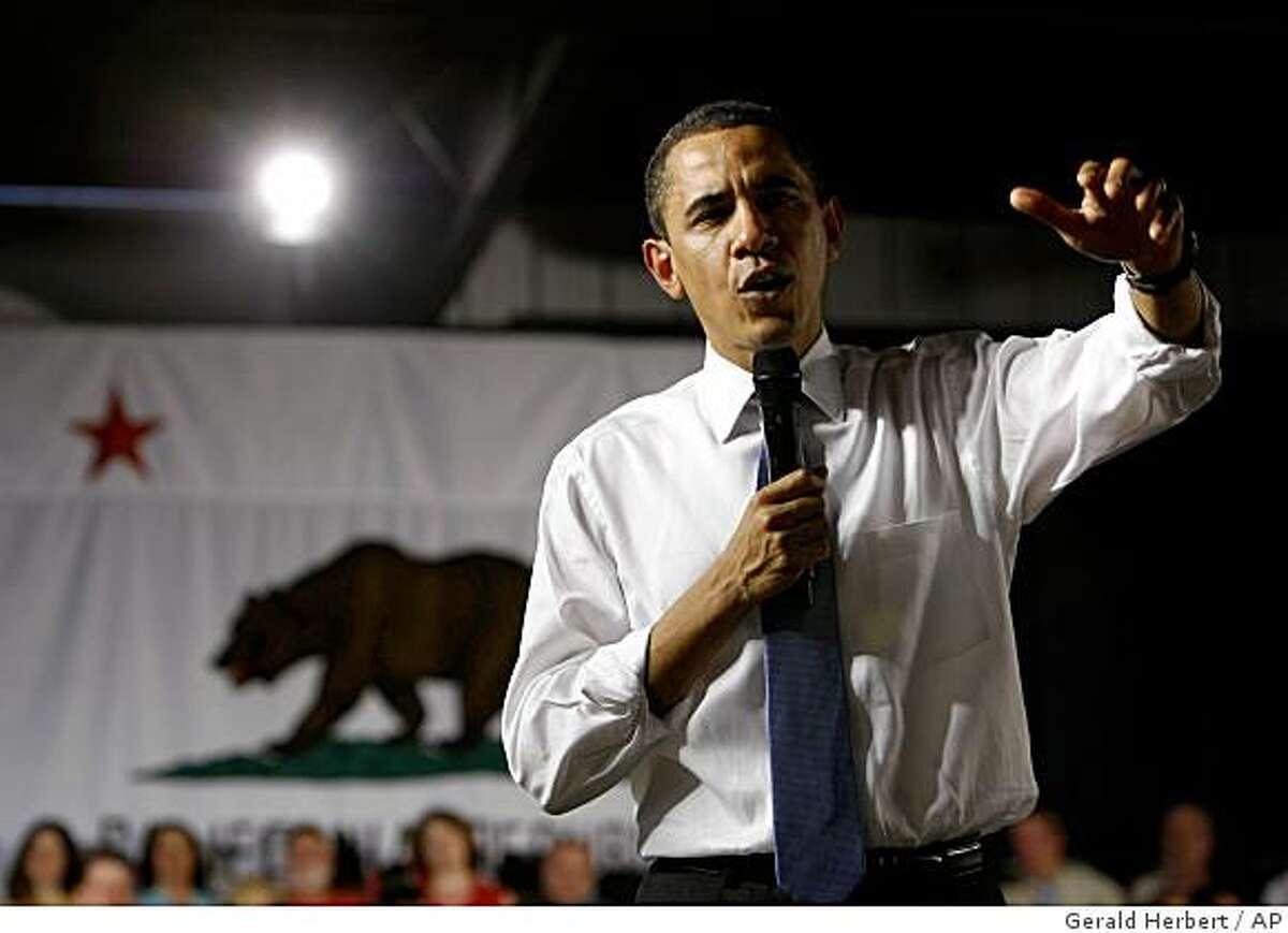President Barack Obama speaks at the Orange County Fairgrounds in Costa Mesa, Calif., Wednesday, March 18, 2009. (AP Photo/Gerald Herbert)