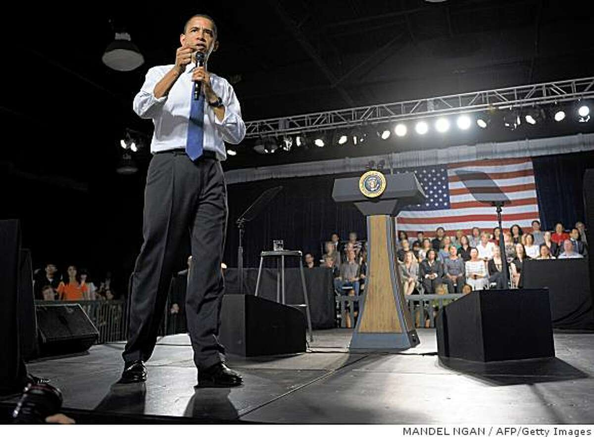 US President Barack Obama speaks March 18, 2009 during a town hall meeting at the Orange County Fair and Event Center in Costa Mesa, California. Obama is in California for a two-day visit. AFP PHOTO/Mandel NGAN (Photo credit should read MANDEL NGAN/AFP/Getty Images)