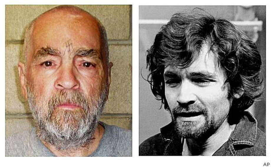** FILE **  In a Dec. 17, 1970  file photo, right, Charles Manson is pictured en route to a Los Angeles courtroom. At right Manson is shown in a photo made and released Wednesday March 18, 1970 by California corrections officials.. The photo of the 74-year-old Manson was taken Wednesday as part of a routine update of files on inmates at Corcoran State Prison. (AP Photo/ho/files) Photo: AP