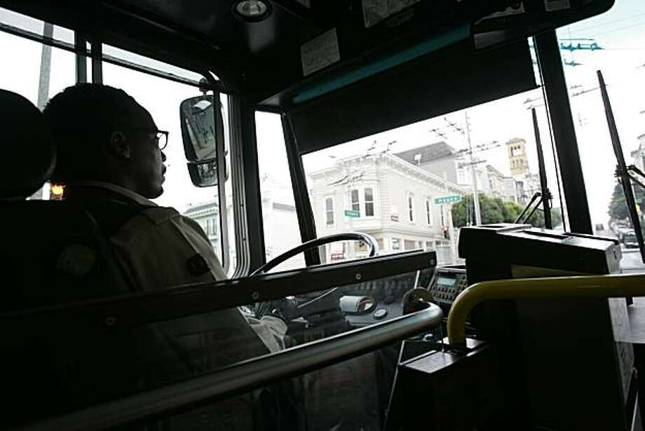 MUNI driver, Alvin Foster, drives his route on Thursday, December 29, 2005, on the 22 Filmore bus in San Francisco, Ca., from Potrero Hill to the Marina. Datebook is doing a centerpiece on Tuesday, Jan. 3, where our staff offers music programming for various commutes in the bay area. Photo: Carlos Avila Gonzalez, The Chronicle