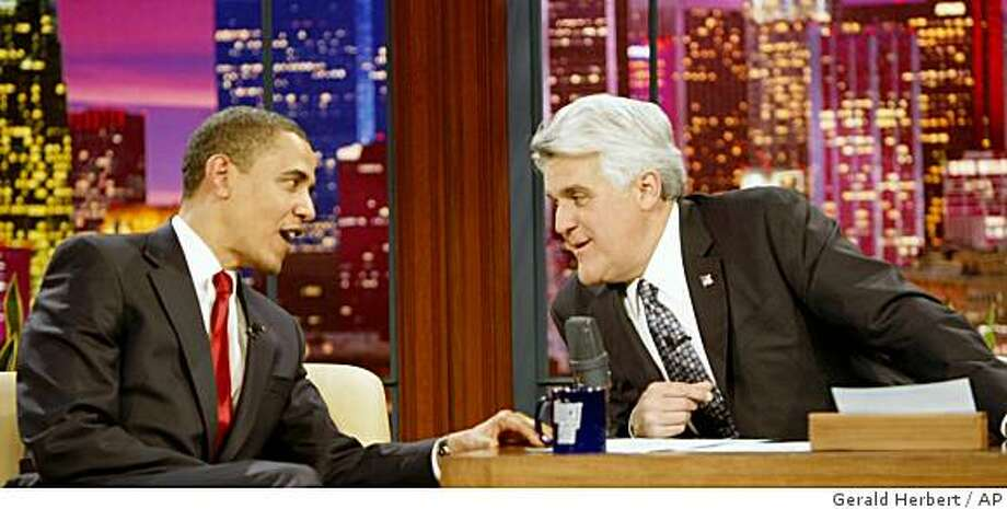 President Barack Obama, left, appears on The Tonight Show with Jay Leno in Burbank, Calif. Thursday, March 19, 2009. (AP Photo/Gerald Herbert) Photo: Gerald Herbert, AP