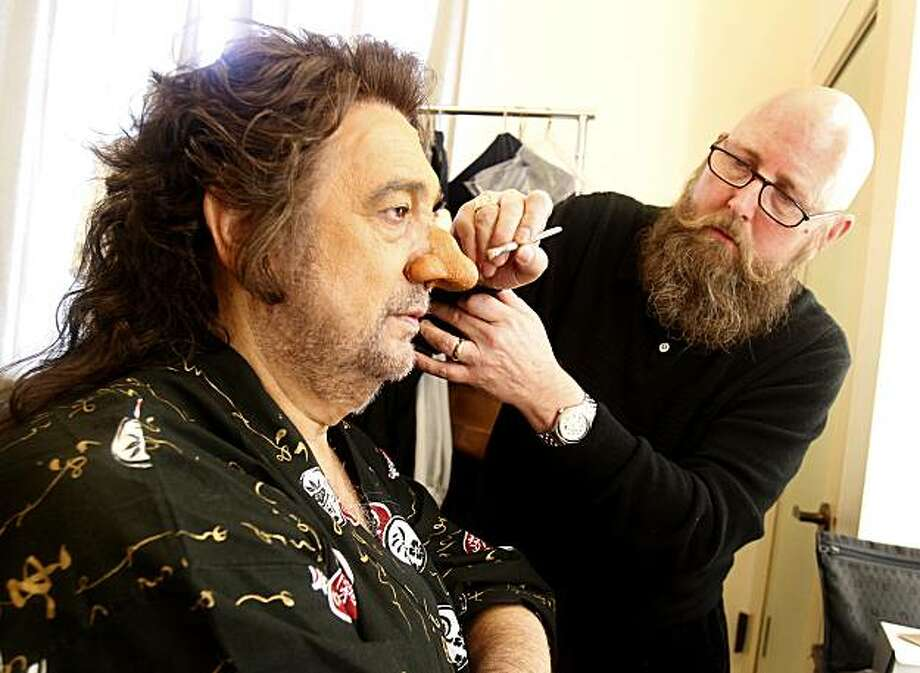 Tim Santry (right) performs the finishing touches on the fake nose of Placido Domingo. Placido Domingo receives his fake nose from San Francisco Opera makeup artist Tim Santry before a performance of Cyrano Sunday October 24, 2010. Photo: Brant Ward, The Chronicle