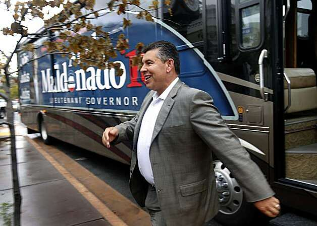 Abel Maldonado, the Republican candidate for Lieutenant Governor, emerges from his campaign bus for a visit with voters at the flourChylde bakery in Novato, Calif., on Friday, Oct. 29, 2010. Photo: Paul Chinn, The Chronicle