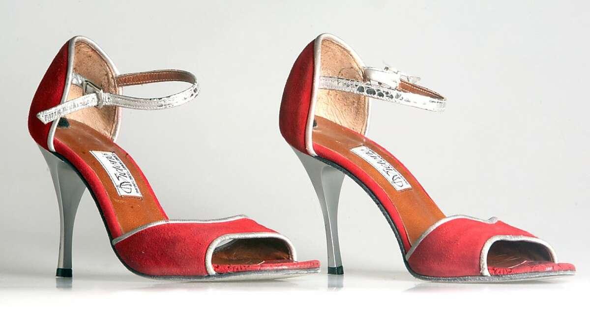 Tango Dancer Lela Carney's red stilleto heels are photographed in San Francisco, Calif.