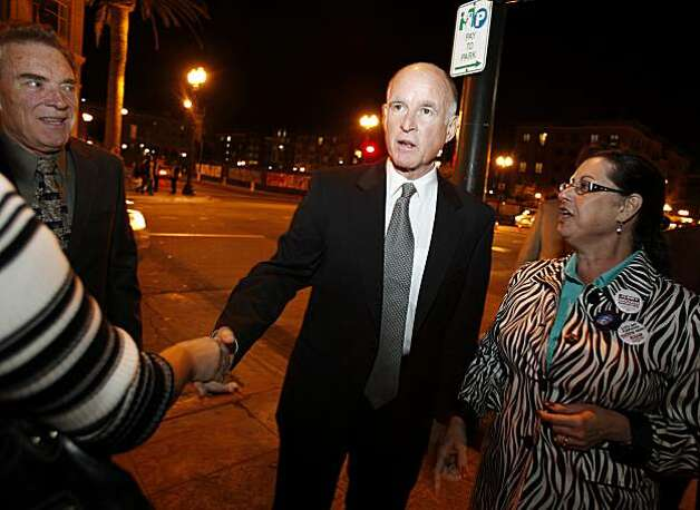 Jerry Brown shook hands with supporters outside a restaurant near the Fox Theatre. Former California Governor and now gubernatorial candidate Jerry Brown arrived at the Fox Theatre minutes after the polls closed in California. Photo: Brant Ward, The Chronicle