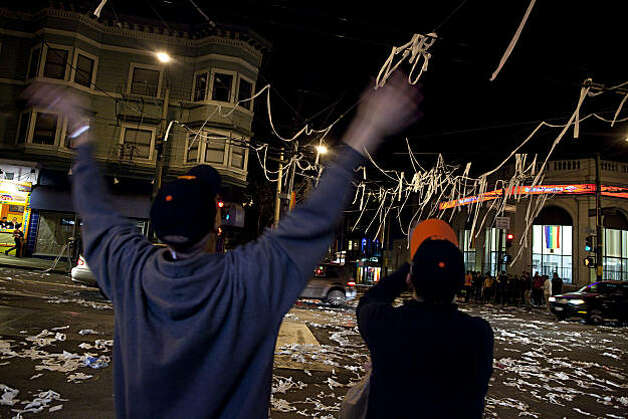 Giants fans celebrate on18th and Castro Street after the Giants defeated the Texas Rangers to win the World Series in 5 games on November 1, 2010 in San Francisco, Calif.  Photograph by David Paul Morris/Special to the Chronicle Photo: David Paul Morris, Special To The Chronicle