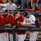 The Rangers' dugout in the ninth inning as the San Francisco Giants take Game 4 of the World Series on Sunday.