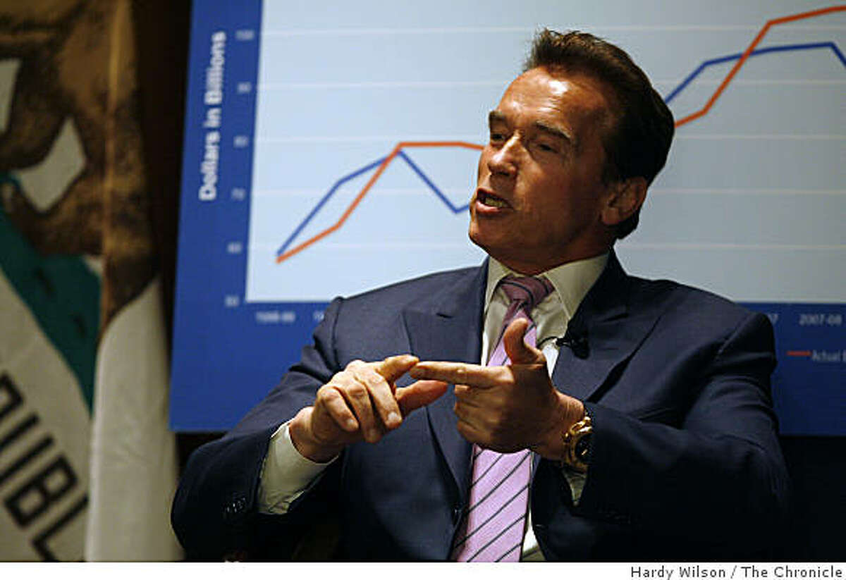 California Governor Arnold Schwarzenegger speaks to a crowd of reporters and the public during a special meeting of the Commonwealth Club at the Mark Hopkins hotel on Thursday, March 12, 2009 in San Francisco, Calif.. Schwarzenegger was making a pitch for the passage a series of measures on the May 19 special election ballot that were part of the budget compromise approved by the legislature last month.