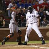 Texas Rangers designated hitter Vladimir Guerrero takes a called strike three in the second inning of Game 4 of the World Series on Sunday.