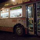 A vandalized MUNI bus on Mission Street after a small riot broke out after the Giants defeated the Texas Rangers to win the World Series in 5 games on November 1, 2010 in San Francisco, Calif.  Photograph by David Paul Morris/Special to the Chronicle
