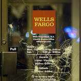 Vandalism is shown on a door to Wells Fargo Bank on Mission Street after a small riot broke out after the Giants defeated the Texas Rangers to win the World Series in 5 games on November 1, 2010 in San Francisco, Calif.  Photograph by David Paul Morris/Special to the Chronicle
