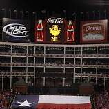 The pre-game ceremony before Game 4 of the World Series at Rangers Ballpark on Sunday.