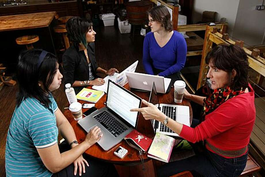 Angie Chang (left to right), Shaherose Charania, Baat Enosh and Kelley Boyd, members of Women 2.0, share ideas in a weekly meeting at Pier 38 in San Francisco, Calif., on Oct. 29, 2010. Photo: Michelle Gachet, The Chronicle