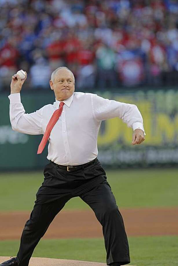 Former Texas Rangers pitcher Nolan Ryan throws out the first pitch prior to game 3 of the 2010 World Series between the San Francisco Giants and the Texas Rangers on Saturday, Oct. 30, 2010 in Arlington, Tx. Photo: Michael Macor, San Francisco Chronicle